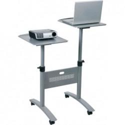 NOBO Table multimedia 2 tablettes Cap 10 Kg Réglables Argent