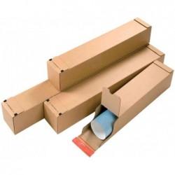 COLOMPAC Pqt de 10 Tubes carré double fermeture autocollant L705x108x108 mm utile Marron
