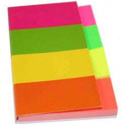 KORES Pack 200 Marque-pages 20 x 50 mm Couleurs néon Assorties