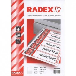 KORES étiquettes pour dos de classeurs, 190 x 61 mm, blanc,