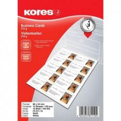 KORES paquet de 100 cartes de visite, 86 x 54 mm, 210 g/m2, blanc, mat