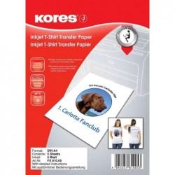 KORES Papier transfert T-shirt Textile Clair A4 5 feuilles