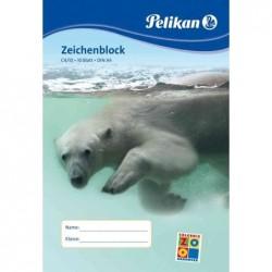 PELIKAN Bloc dessin  20 Feuilles C4/20 A4 100 g sans chlore Blanc Motif Animaux