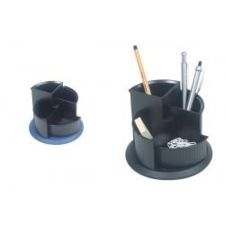 HELIT multipot à crayon Linear, 4 compartiments,rotatif,noir