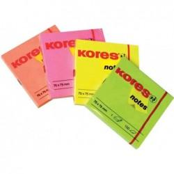 KORES Notes adhésives repositionnable 75 x 75 mm 100F Fuchsia néon
