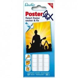 LÄUFER Pack 52 Pastilles adhésives 10x12 mm Posterfix détachable Blanc
