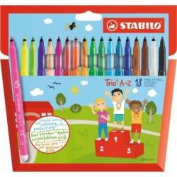 STABILO Étui carton de 18 Feutres de coloriage Trio A-Z Pte Moyenne dont 3 fluo