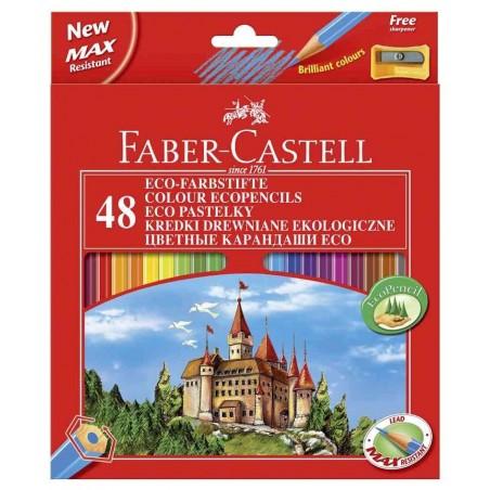 FABER-CASTELL Etui Lot de 48 crayons de couleur Hexagonal ECOavec Taille-Crayons