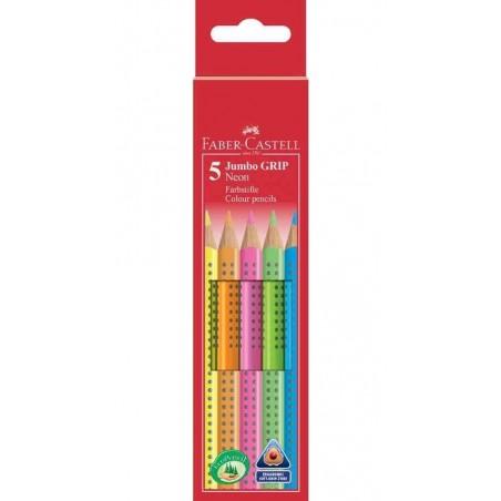 FABER-CASTELL étui de 5 crayons couleur Jumbo GRIP Neon