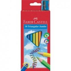 FABER-CASTELL étui de 10 crayons de couleur Jumbo triangulaire