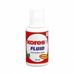 """KORES Correcteur Liquide """"Fluid"""" 20 ml à Pinceau Blanc"""