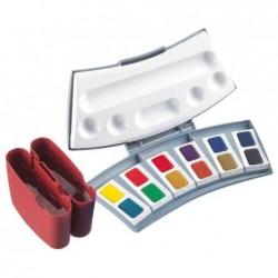 PELIKAN Boîte de 24 couleurs aquarelles d'études 725 D/24 avec 2 Gobelets