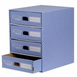 FELLOWES Module de classement 4 tiroirs Bleu/Blanc