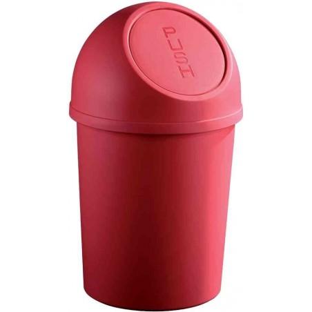 HELIT Poubelle à clapet Push 6 litres Diam 21cm H37,5 cm Rouge