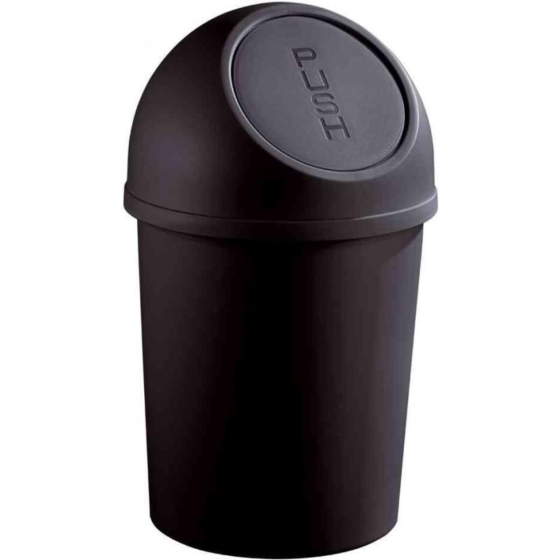 HELIT Poubelle à clapet Push 6 litres Diam 21cm H37,5 cm Noir