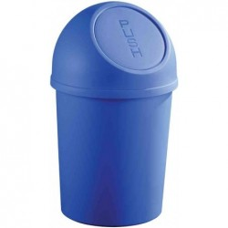 HELIT Poubelle à clapet Push, 123 litres, bleu, rond, en PP