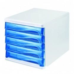 HELIT Bloc de rangement 5 tiroirs L265 x P340 x H250 mm Gris lumière / bleu