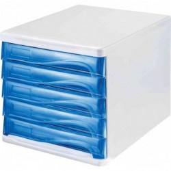 HELIT Bloc de rangement, 5 tiroirs, gris lumière / bleu