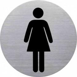 """HELIT Pictogramme """"WC-Dame"""", diamètre: 115 mm, argent"""