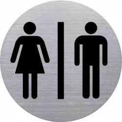 """HELIT Pictogramme """"WC Dame & Homme"""" Diam 115 mm Argent"""