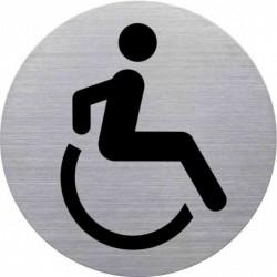 """HELIT Pictogramme """"WC handicapé"""", diamètre: 115 mm, argent"""
