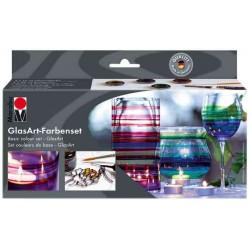 """MARABU Kit Peinture pour verre """"GlasArt"""" 4 x 15 ml + Pâte à relief"""