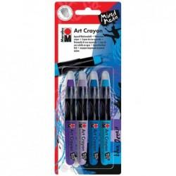 """MARABU Blister de 4 Crayon de cire aquarelle """"Art crayon"""" blue Ocean"""