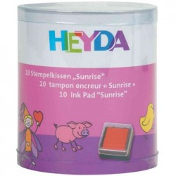 "HEYDA Set de 10 tampons encreurs 30x30 mm ""Sunrise"""
