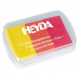 HEYDA Coffret de 3 tampons encreur jaune/orange/rouge