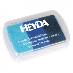 HEYDA Coffret de 3 tampons encreur bleu clair/bleu moyen/ bleu foncé
