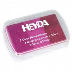 HEYDA Coffret de 3 tampons encreur rose vif/rose/magenta