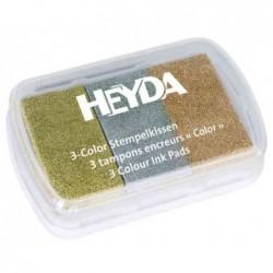 HEYDA Coffret de 3 tampons encreur or/argent/cuivre