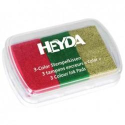 HEYDA Coffret de 3 tampons encreur rouge/vert foncé/or