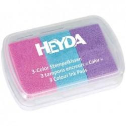 HEYDA Coffret de 3 tampons encreur rose/bleu clair/lilas