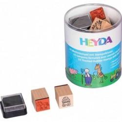 HEYDA Lot de 15 Tampon à Motif 20 x 20 mm Ferme et Cheval