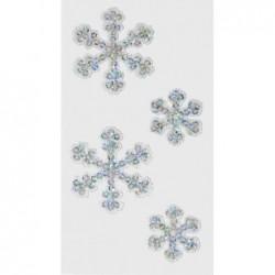 """HEYDA Feuille de 4 Autocollants Textile """" Cristal de glace """" argent"""