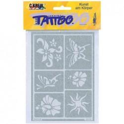 """KREUL pochoir pour tatouage Hobby Line """"soleil & fleurs"""""""