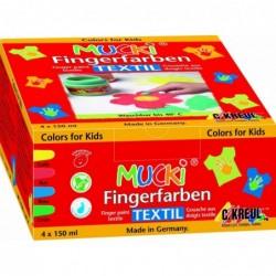 """KREUL Gouache aux doigts textile """"MUCKI"""" 150 ml kit de 4 jaune, rouge, bleu et vert"""