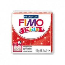 FIMO Kids Pâte à modeler durcissante au four 42g Rouge pailleté
