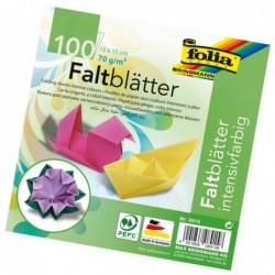 FOLIA Lot de 100 feuilles Papier Origami 150x 150 mm 70g 10 Couleurs Assorties