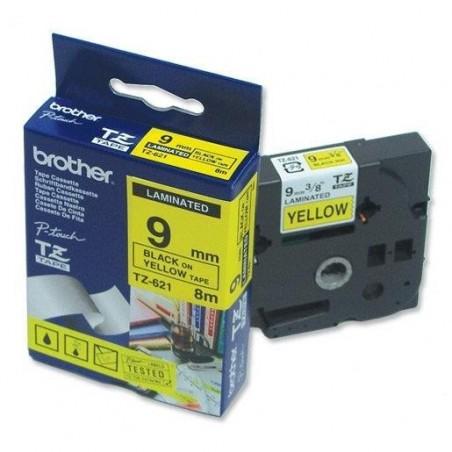 BROTHER TZe-Tape TZe-621 cassette à ruban, Largeur: 9 mm noir / jaune