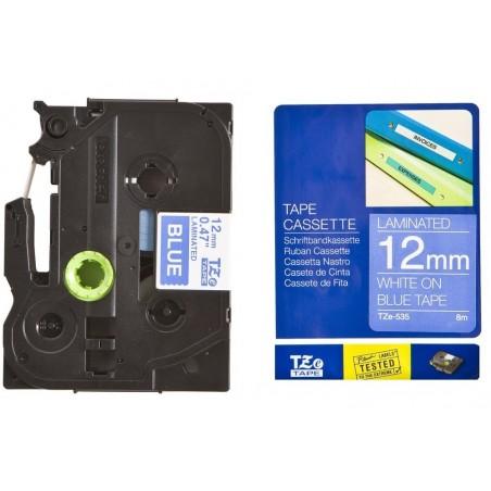 BROTHER TZe-535 cassette à ruban 12mm x 8m Blanc/Bleu