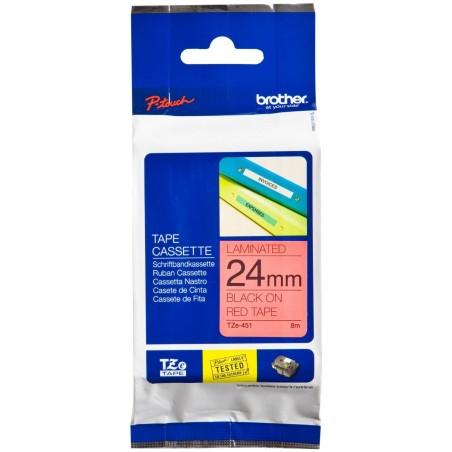 BROTHER TZe-451 cassette à ruban,  24 mm x 8m, Noir/Rouge