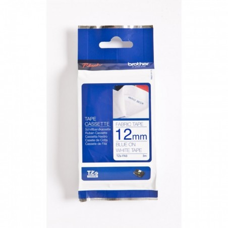 BROTHER Ruban spécial Textile TZe-FA3  à repasser 12 mm  3 m Bleu sur Blanc