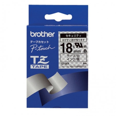 BROTHER TZe-SE4 Ruban Safety 18 mm x 8 m Noir sur Blanc