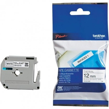 BROTHER M-K231S cassette 12mm x 4m Noir sur Blanc