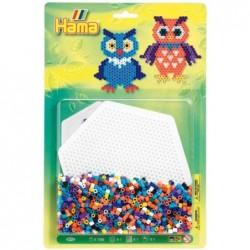 HAMA Kit 1100 Perles à repasser Midi 5 mm motif Chouette