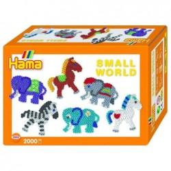 "HAMA Kit 2000 Perles à repasser midi 5 mm ""Small World Animaux"" avec plaques"