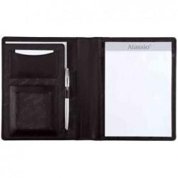 ALASSIO Serviette écritoire BORMIO format A5 Simili Cuir Noir