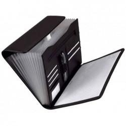 "ALASSIO Classeur 12 Trieurs accordeon ""VADO"" format A4 simili cuir Noir"